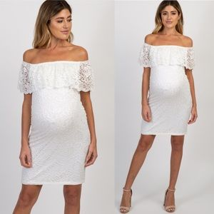 Pinkblush Lace Off Shoulder Fitted Maternity Dress